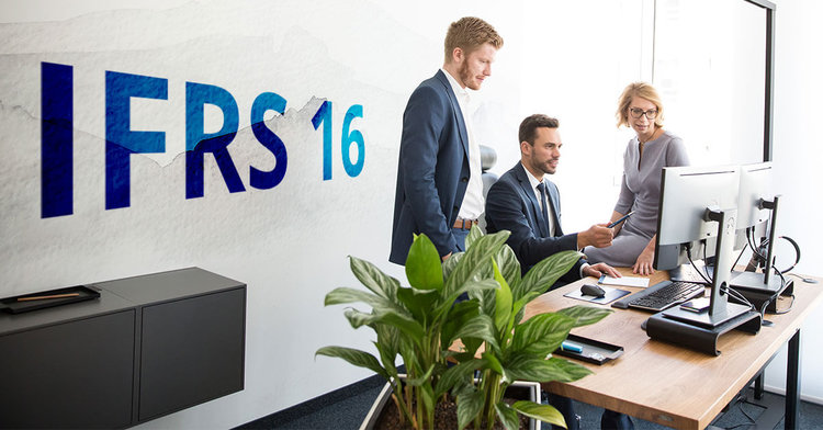 group of consultants working together at pc with ifrs 16 logo